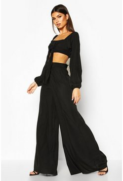 Womens Black Tie Front Long Sleeve Crop & Wide Leg Trouser
