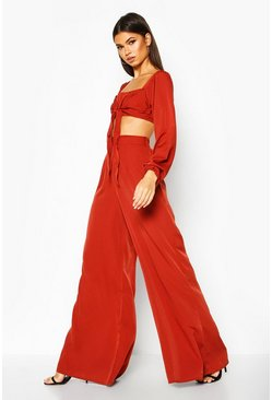 Womens Rust Tie Front Long Sleeve Crop & Wide Leg Trouser