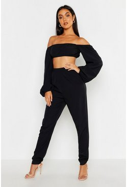 Womens Black Bardot Volume Sleeve Top & Trouser Co-ord