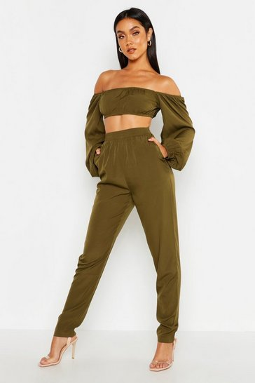 Khaki Bardot Volume Sleeve Top & Trouser Co-ord