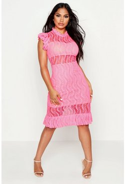 Womens Neon-pink Lace Ruffle Detail Midi Dress