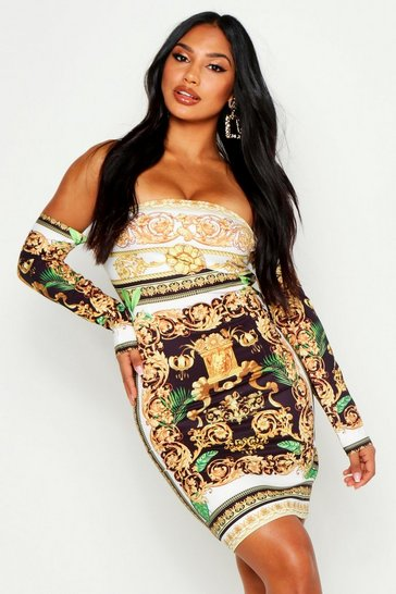 Womens Black Off The Shoulder Printed Dress