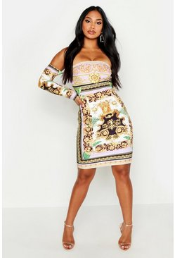 Womens Lilac Off The Shoulder Printed Dress