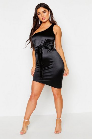 Womens Black Satin One Shoulder Tie Waist Mini Dress