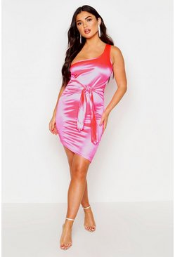 Womens Neon-pink Satin One Shoulder Tie Waist Mini Dress