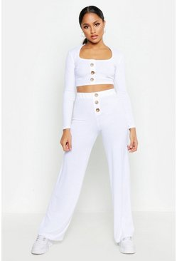 Ensemble pantalon coupe large et top boutonné, Blanc, Femme