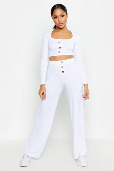 Womens White Button Down Top & Wide Leg Trouser Co-Ord