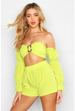 Womens Lime Volume Sleeve Buckle Bralet & Short Co-Ord