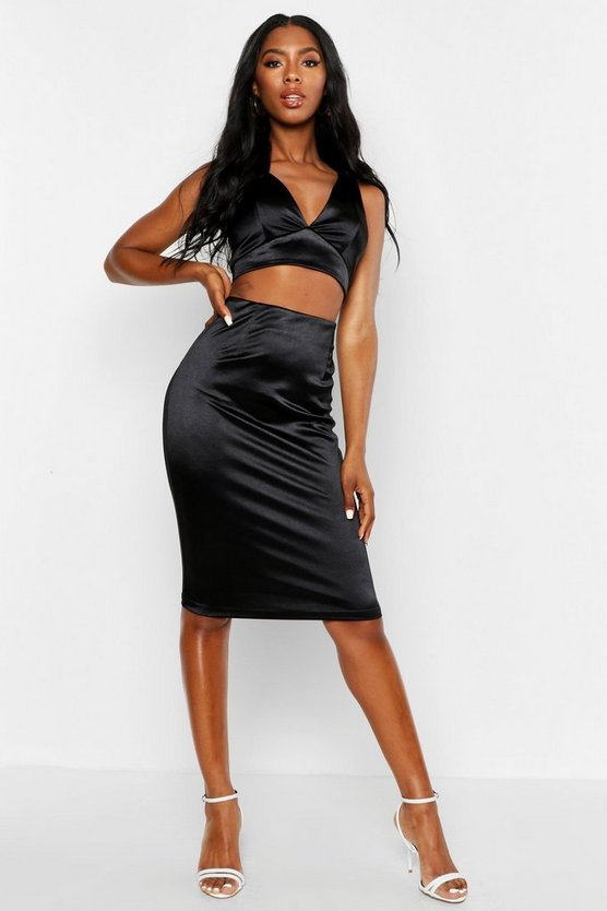 Womens Black Neon Satin Crop Top & Midi Skirt Co-Ord
