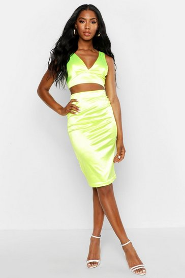 Womens Green Neon Satin Crop Top & Midi Skirt Co-Ord