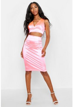 Womens Pink Neon Satin Crop Top & Midi Skirt Co-Ord