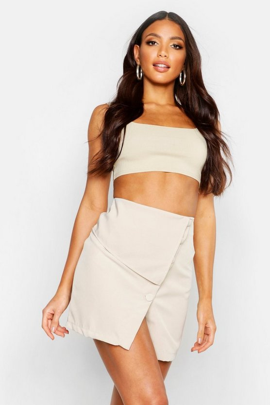 Womens Stone Asymmetric Button Detail Skirt
