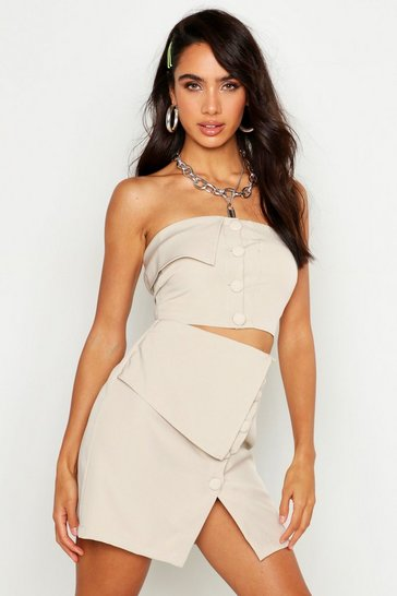 Womens Stone Button Detail Bralet
