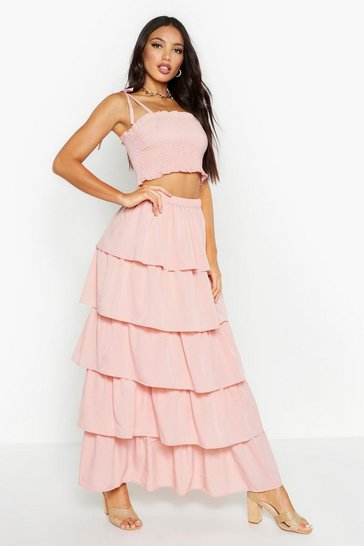 Womens Pale pink Shirred Bandeau & Ruffle Maxi Skirt Co-Ord