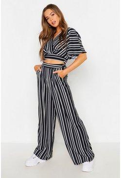 Dam Black Wide Leg Stripe Trouser