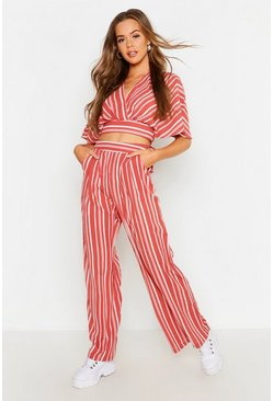 Rust Wide Leg Stripe Trouser