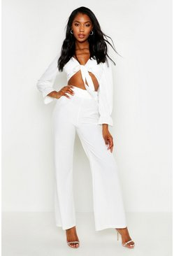Dam Ivory Volume Sleeve Tie Front Top & Wide Leg Trouser Co-Ord