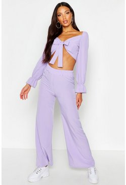 Lilac Volume Sleeve Tie Front Top & Wide Leg Trouser Co-Ord