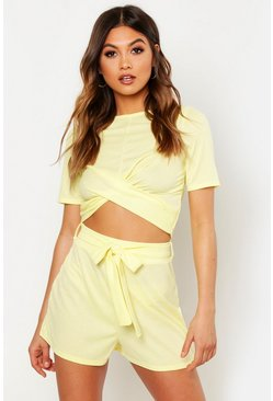 Womens Lemon Twist Front Rib Top & Belted Shorts Co-Ord