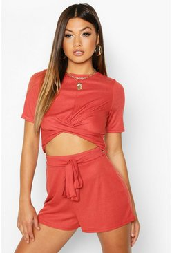 Rust Twist Front Rib Top & Belted Shorts Co-Ord