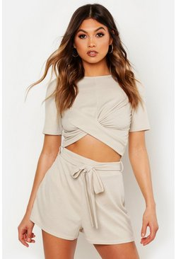 Womens Stone Twist Front Rib Top & Belted Shorts Co-Ord