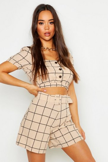 Womens Stone Linen Look Printed Button Through Crop Top