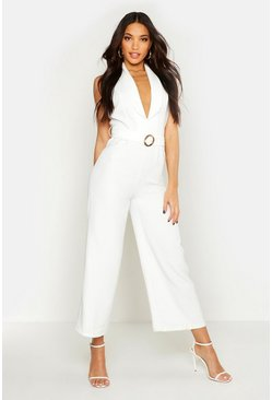 Womens Ivory Sleeveless Belted Ankle Length Jumpsuit
