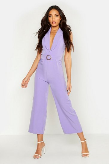 Womens Lilac Sleeveless Belted Ankle Length Jumpsuit