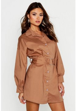 Womens Stone O Ring Smock Shirt Dress