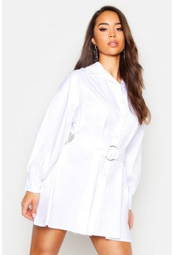 Womens White O Ring Smock Shirt Dress