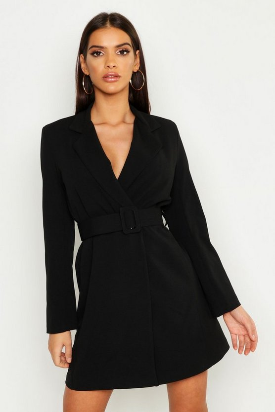 Womens Black Self Belt Skater Blazer Dress