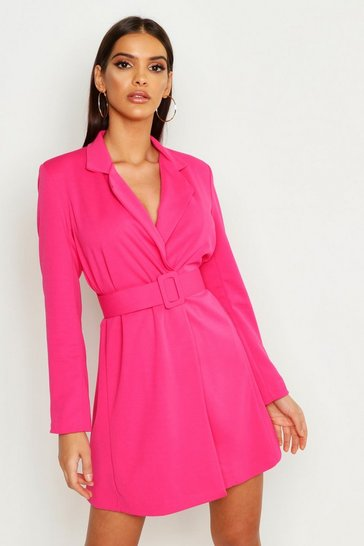 Womens Hot pink Self Belt Skater Blazer Dress