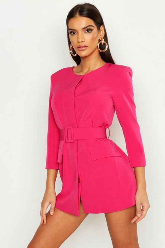 Womens Pink Collarless Self Belt Blazer Dress