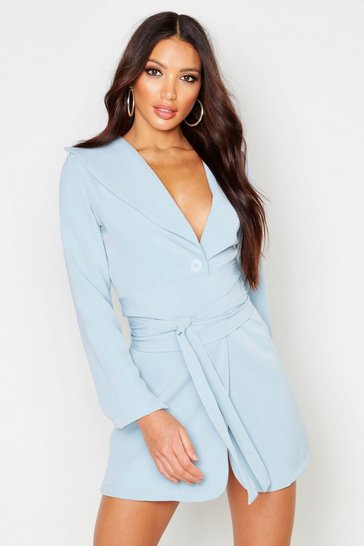 Womens Blue Wide Belt Split Sleeve Blazer Dress