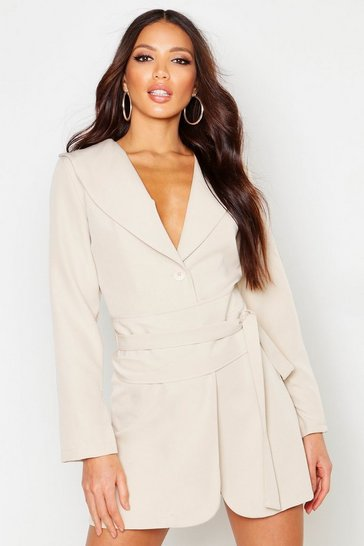 Womens Stone Wide Belt Split Sleeve Blazer Dress