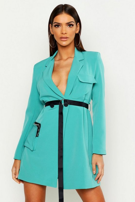 Womens Teal Utility Pocket Belted Blazer Dress