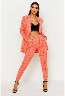 Womens Coral Window Pane Check Tailored Trouser