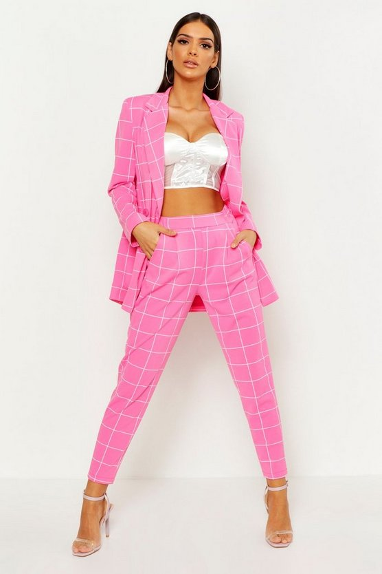 Womens Pink Window Pane Check Tailored Trouser