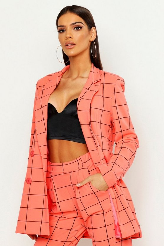 Coral Window Pane Check Double Breasted Blazer