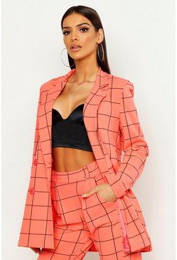 Womens Coral Window Pane Check Double Breasted Blazer