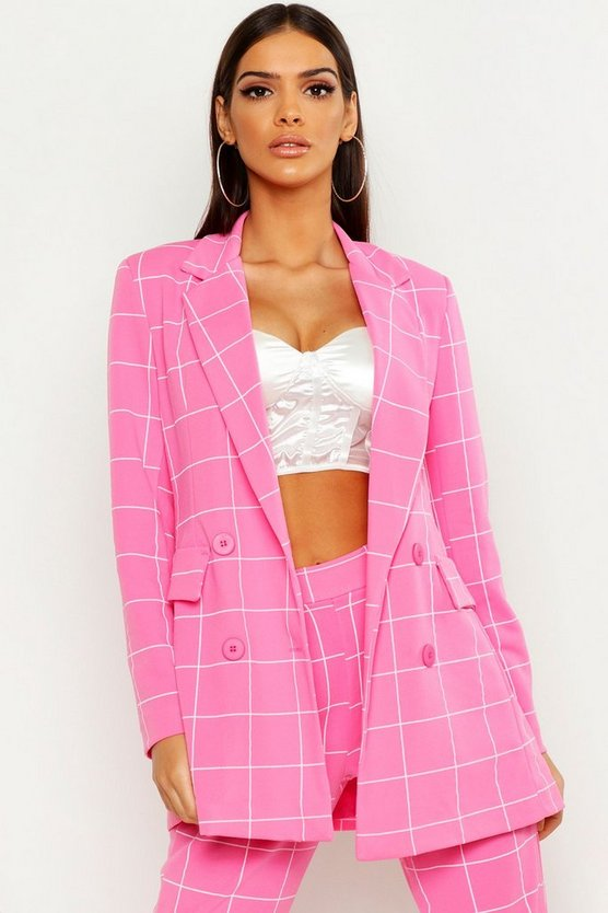 Womens Pink Window Pane Check Double Breasted Blazer