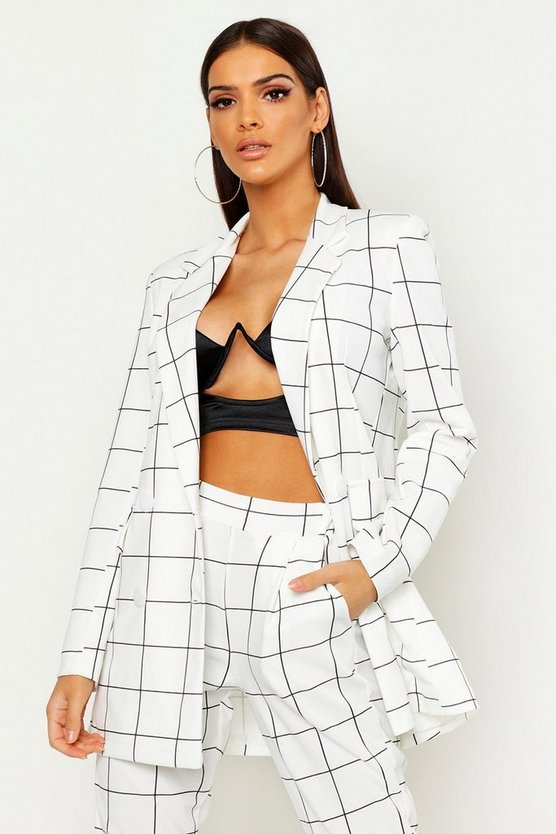 Womens White Window Pane Check Double Breasted Blazer