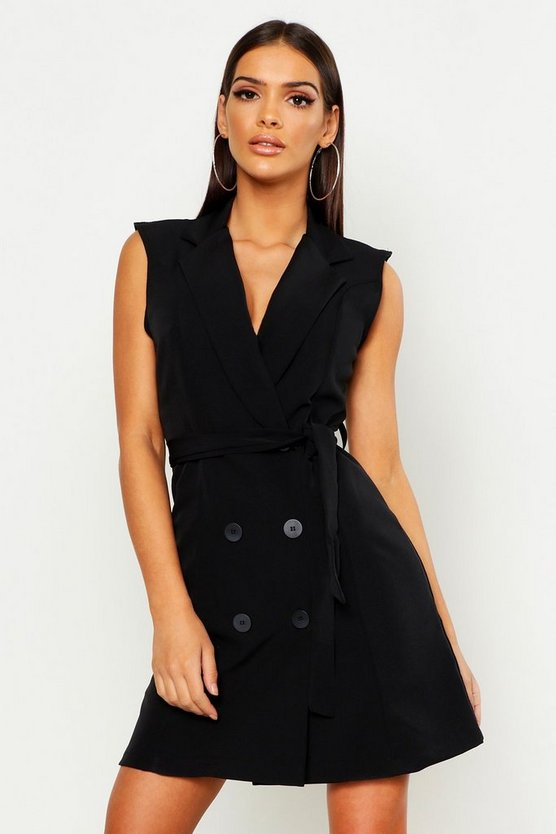 Womens Black Sleeveless Belted Blazer
