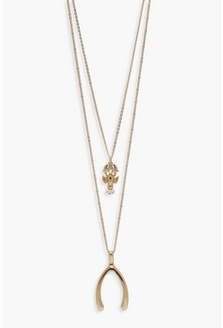 Womens Gold Lobster & Wishbone Double Layer Necklace