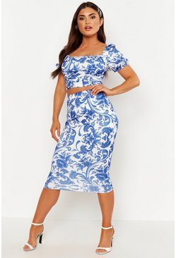 Womens Blue Porcelain Print Midi Tube Skirt