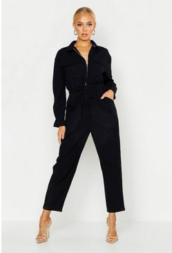 Black Zip Front Boilersuit