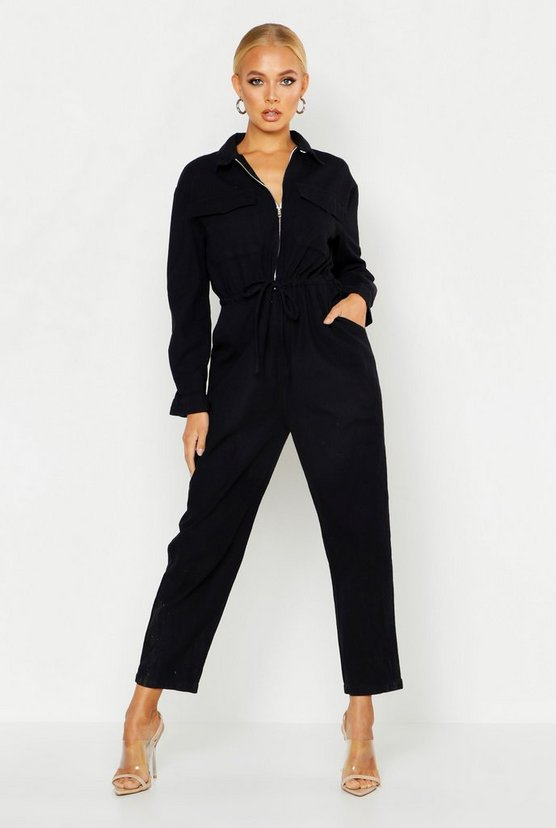 Womens Black Zip Front Boilersuit