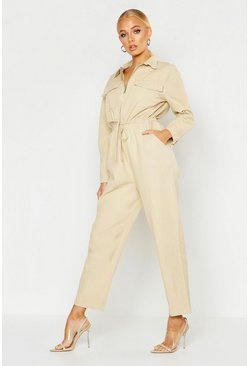 Womens Cream Zip Front Boilersuit