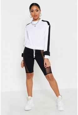 Womens Black Mesh Panel Cycling Shorts