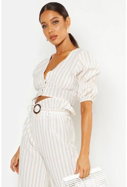 Womens Ecru Striped Linen Look Paperbag Tie Waist Culottes